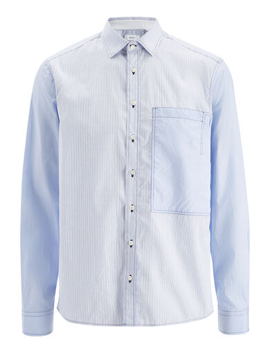 Workwear Stripe Deal Shirt, in BLUE, large | on Joseph