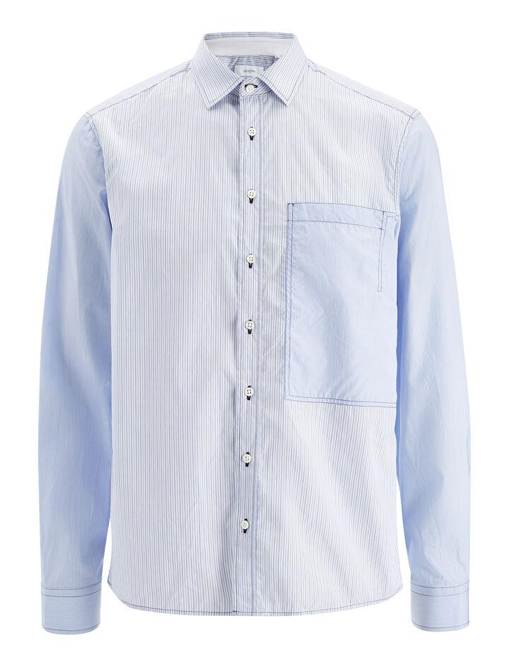 Workwear Stripe Deal Shirt, in BLUE, large | on Joseph