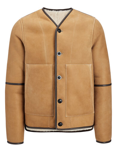 Suede Sheepskin Leigh Reversible Jacket, in COGNAC, large | on Joseph