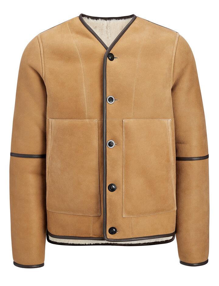 Suede Sheepskin Leigh Reversible Jacket, in COGNAC, large | on Joseph