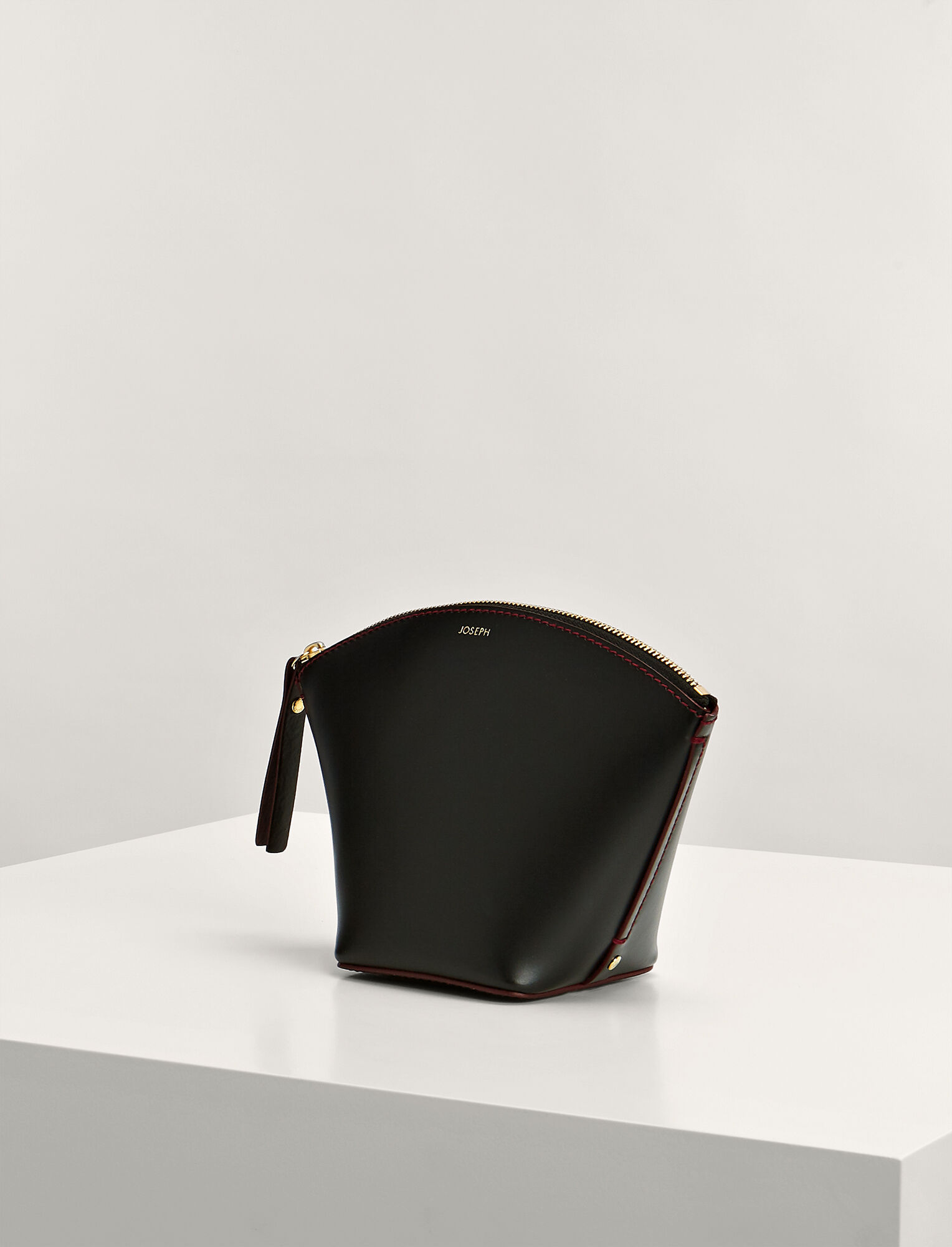 Joseph, Calf Leather Cosmetic Pouch, in BLACK