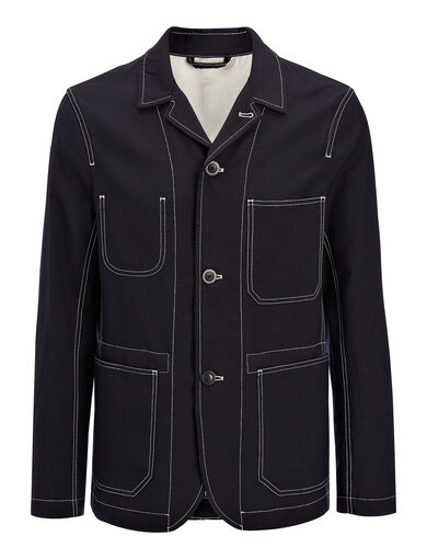 Seersucker Albury Jacket, in NAVY, large | on Joseph