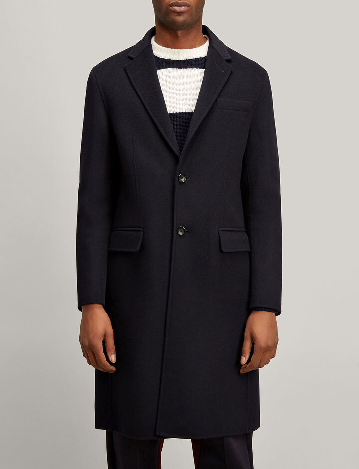 Double Wool Clark Coat, in NAVY, large | on Joseph