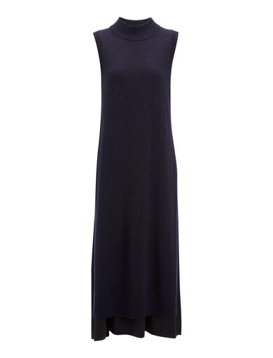 Wool Cashmere + Crepe de Chine Joy Dress, in NAVY, large | on Joseph