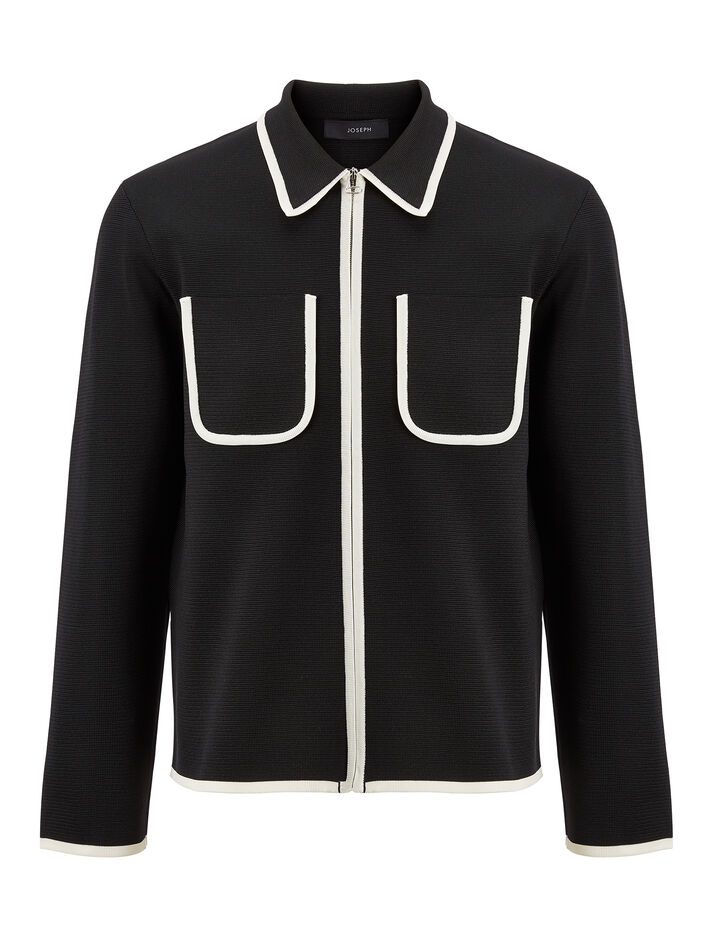Joseph, Nylon Milano Zip Cardigan, in BLACK