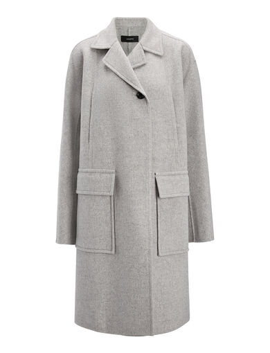 Double Wool Caplan Coat, in LIGHT GREY, large | on Joseph