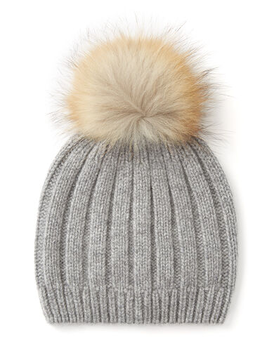 Cashmere Luxe Pompon Hat, in CONCRETE, large | on Joseph