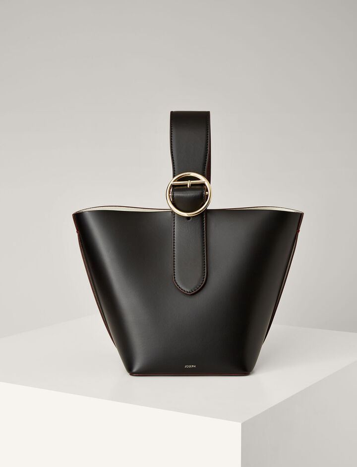 Calf-Leather Sevres Bucket-Bag, in BLACK, large | on Joseph