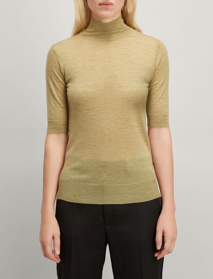 Cashair Short Sleeve Sweater, in PEA, large | on Joseph