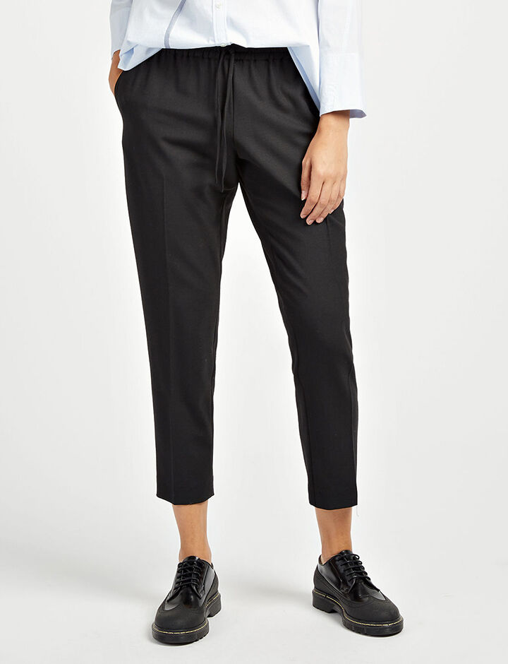 Comfort Wool Loulou Trousers, in BLACK, large | on Joseph