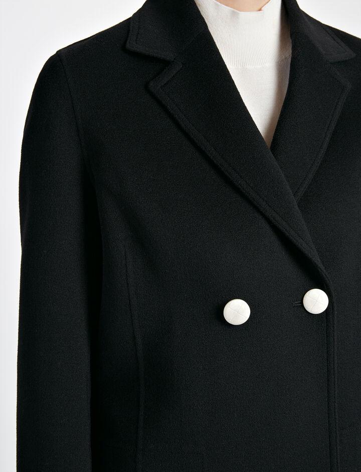 Light Double Cashmere Brest Jacket, in BLACK, large   on Joseph