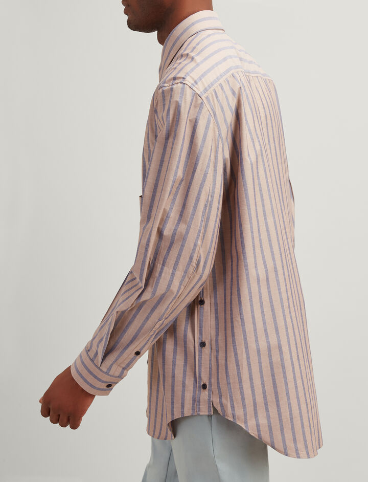 Joseph, Henley Stripe Lake Shirt, in TAWNY