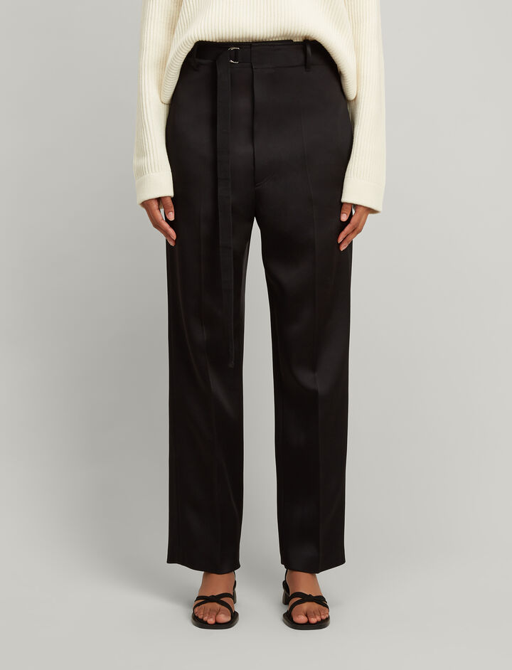 Double Satin Birke Trousers, in BLACK, large | on Joseph