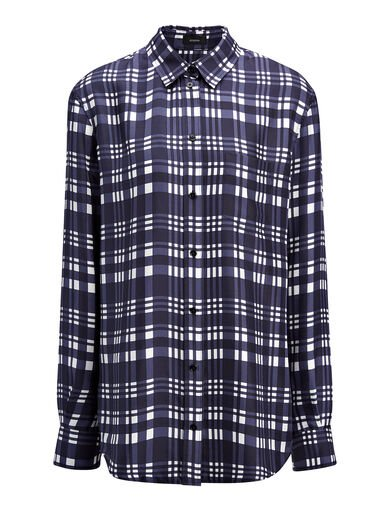Check Twill New Garcon Blouse, in NAVY, large   on Joseph