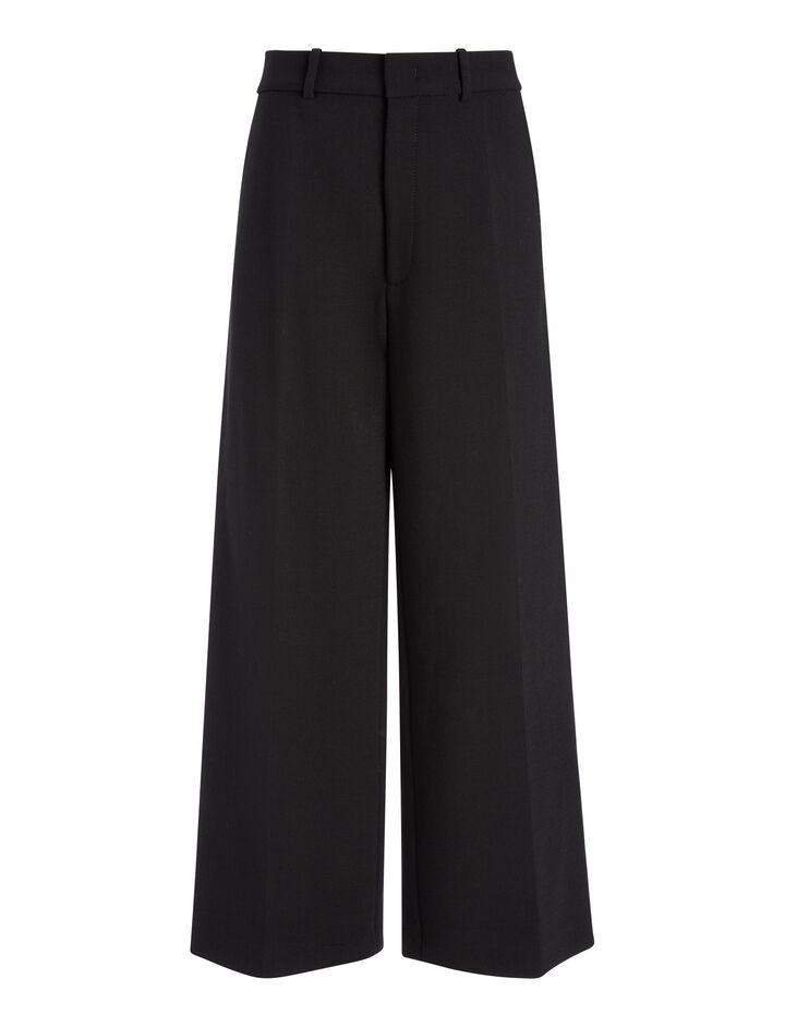 Bi-Stretch Wool Ferrandi Crop Trousers, in BLACK, large | on Joseph