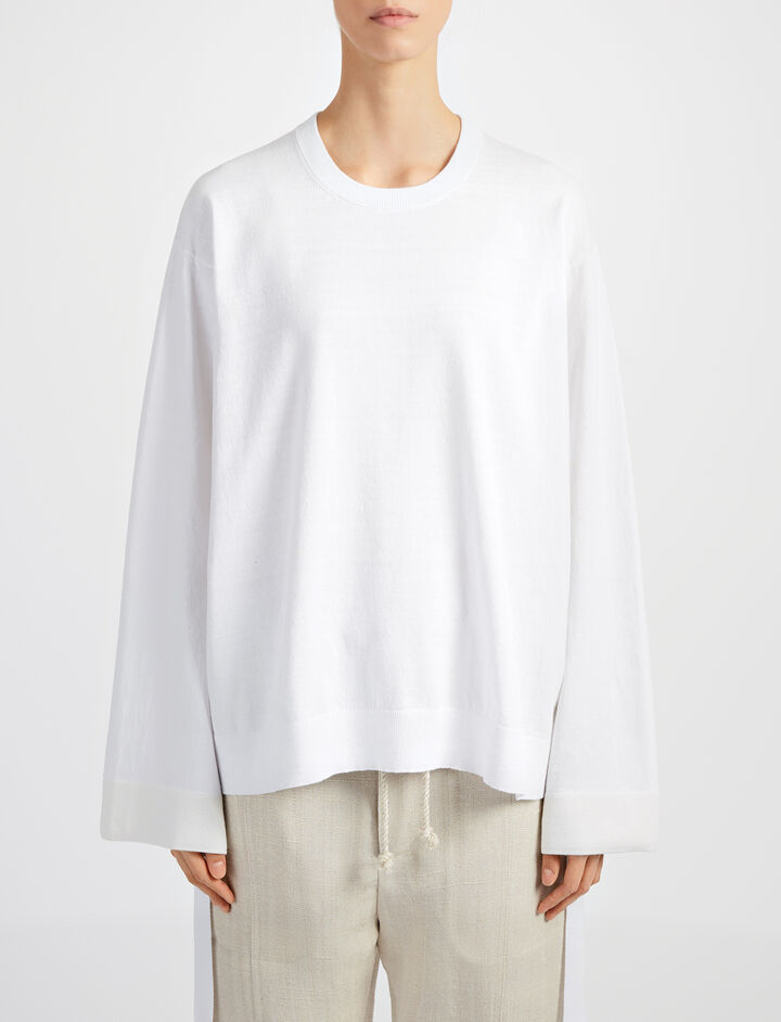 Calico Knit Jumper, in OFF WHITE, large | on Joseph