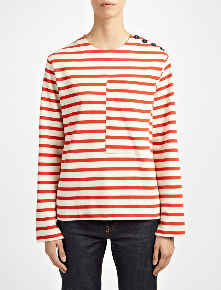 Breton Stripe Top, in RUBY, large | on Joseph
