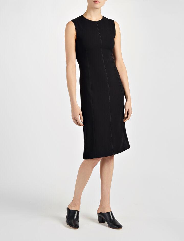 Crepe Stretch Sadie Dress, in BLACK, large | on Joseph