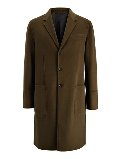 Double Wool Bentley Coat, in DARK KHAKI, large | on Joseph