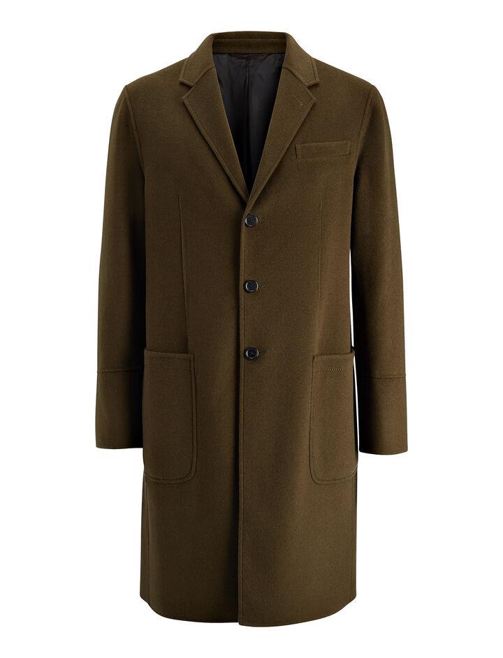 Double Wool Bentley Coat, in DARK KHAKI, large | on Joseph