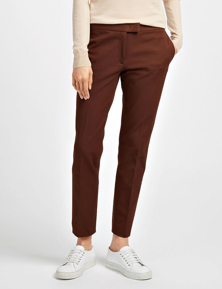 Pantalon Finley en gabardine stretch, in RUST, large | on Joseph