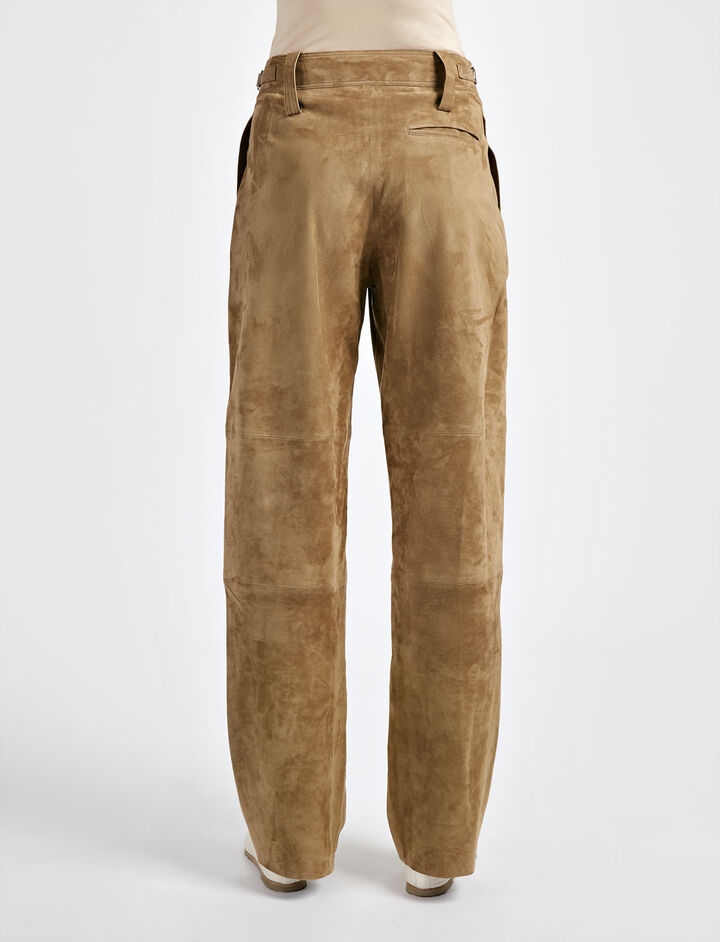 Cashmere Suede March Trouser, in ARMY, large | on Joseph