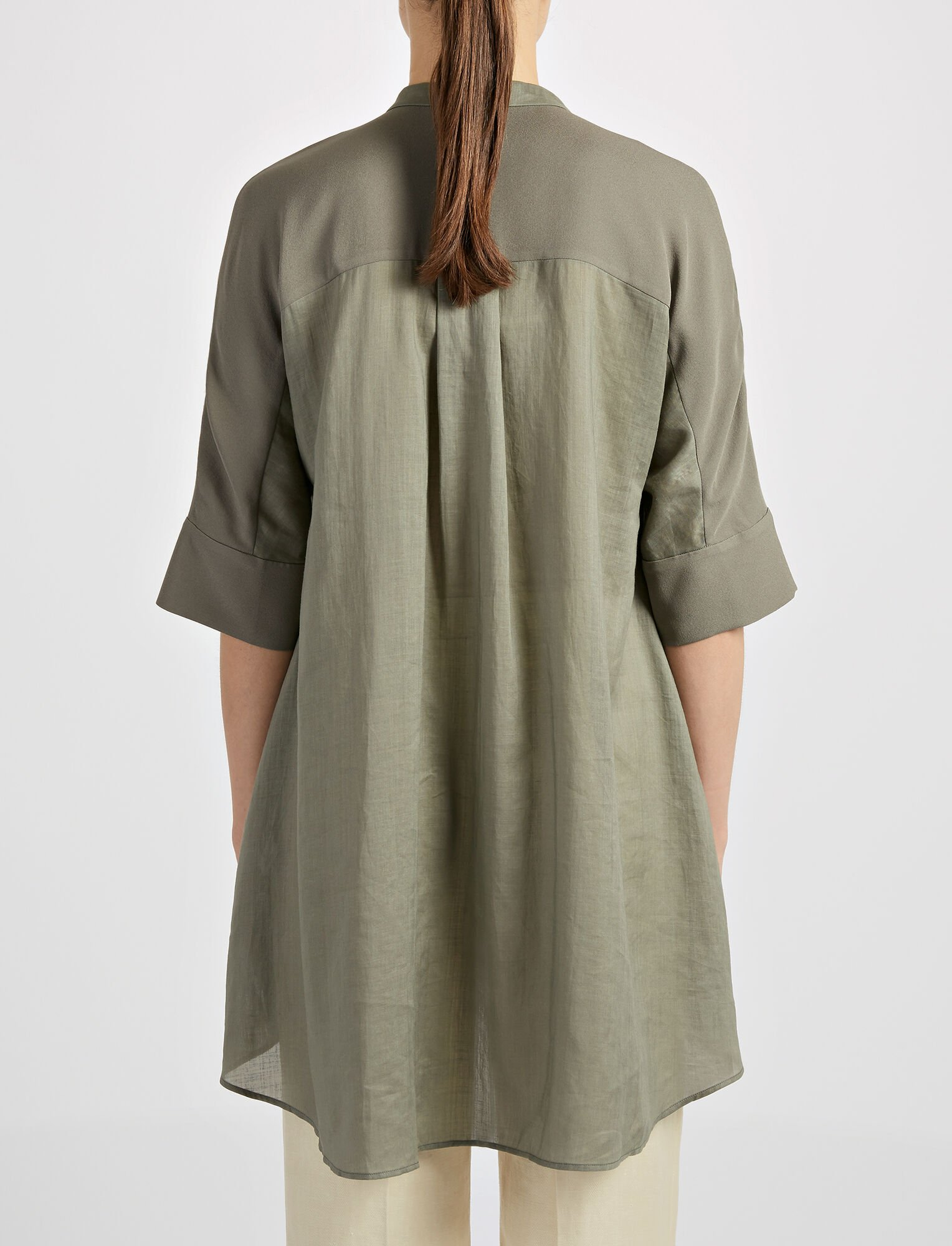 Ramie Voile Heather Blouse, in FATIGUE, large | on Joseph