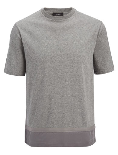 Mercerized Jersey and Silk Tee, in GREY CHINE, large | on Joseph