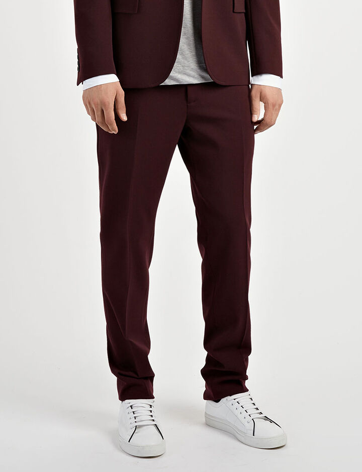 Techno Wool Stretch Jack Suiting Trousers, in BURGUNDY, large | on Joseph