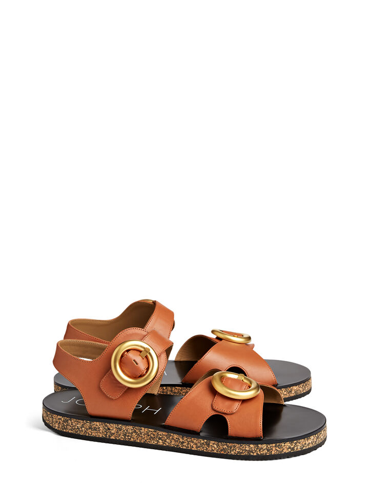 Calf Leather Buckle Sandal, in CAMEL, large | on Joseph