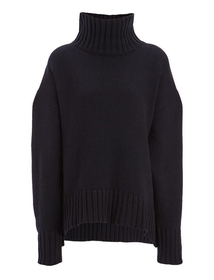 Chunky Knit Sloppy Joe Sweater, in NAVY, large | on Joseph
