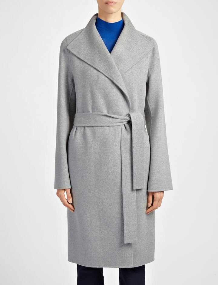 Double Face Cashmere Lima Coat, in CONCRETE, large | on Joseph