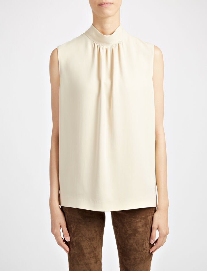 Viscose Cady Bell Blouse, in DUST, large | on Joseph