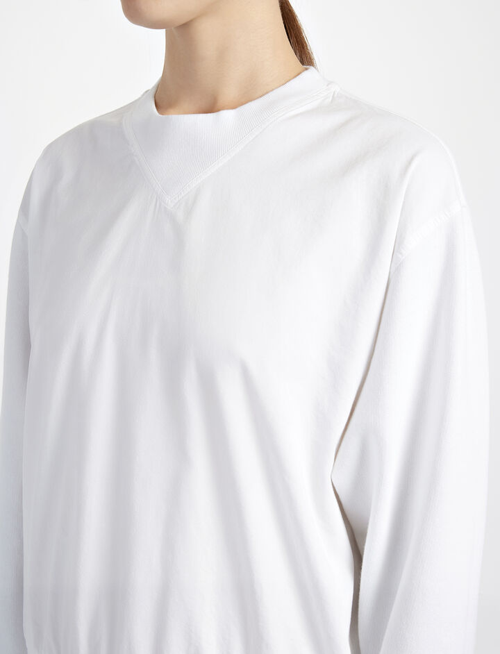 Garment Dyed Molleton Sweater, in WHITE, large | on Joseph