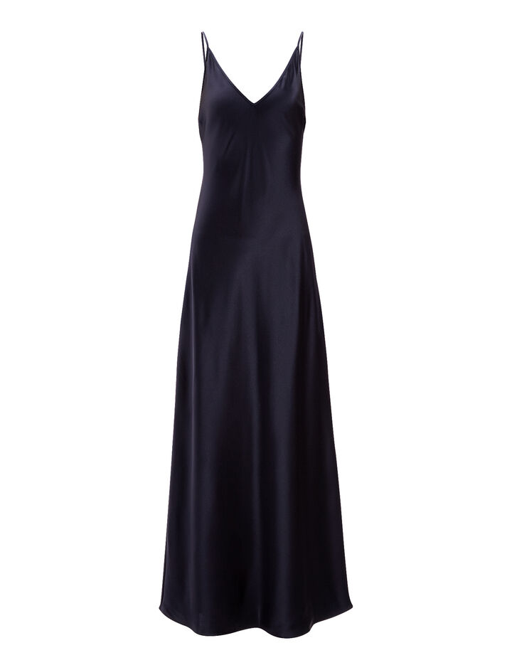 Silk Satin Clea Dress, in INK, large | on Joseph