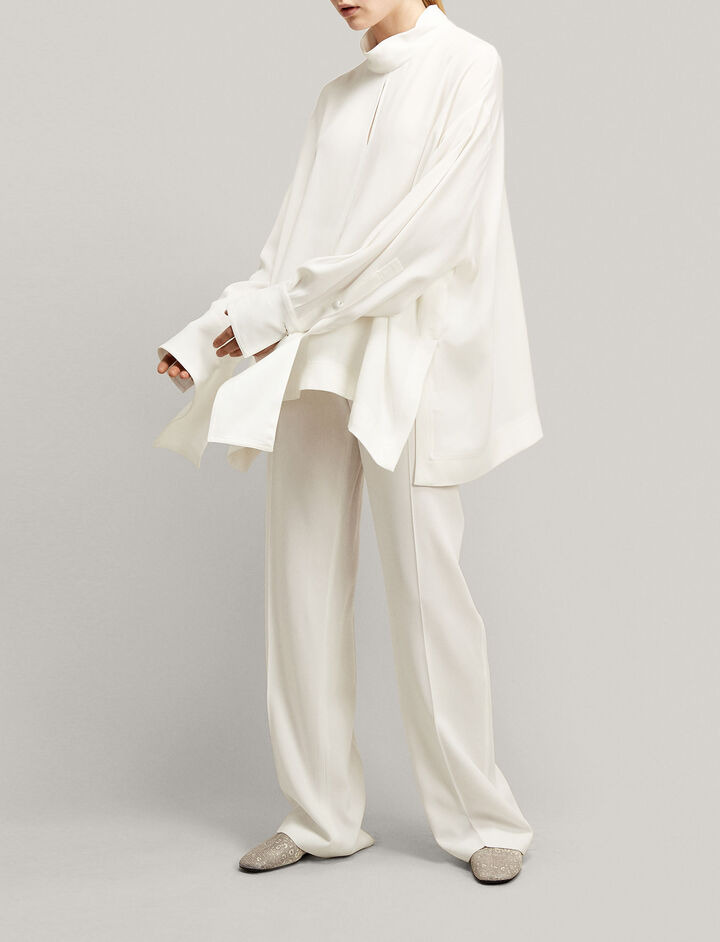 Joseph, Antoine Crepe Satin Blouse, in WHITE