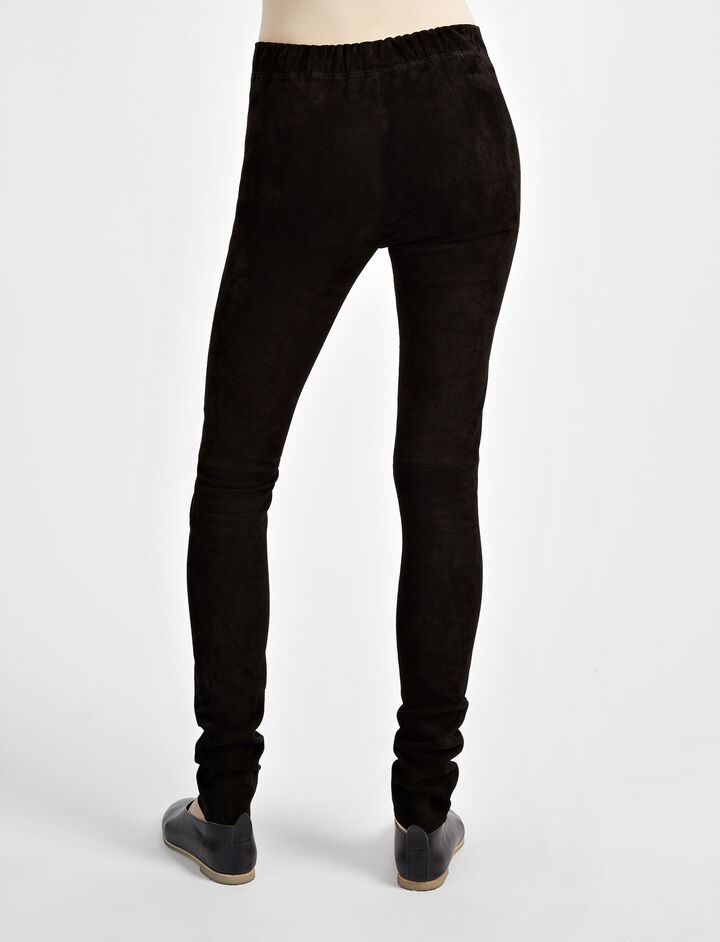 Suede Stretch Legging, in BLACK, large | on Joseph