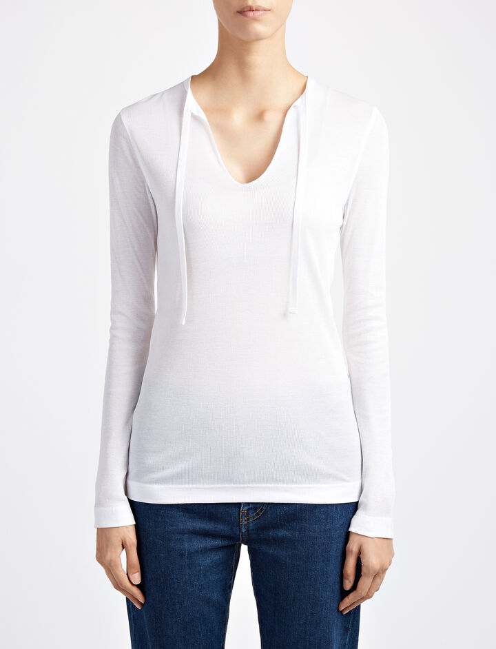 Cotton Rib Morrocan Top, in WHITE, large | on Joseph