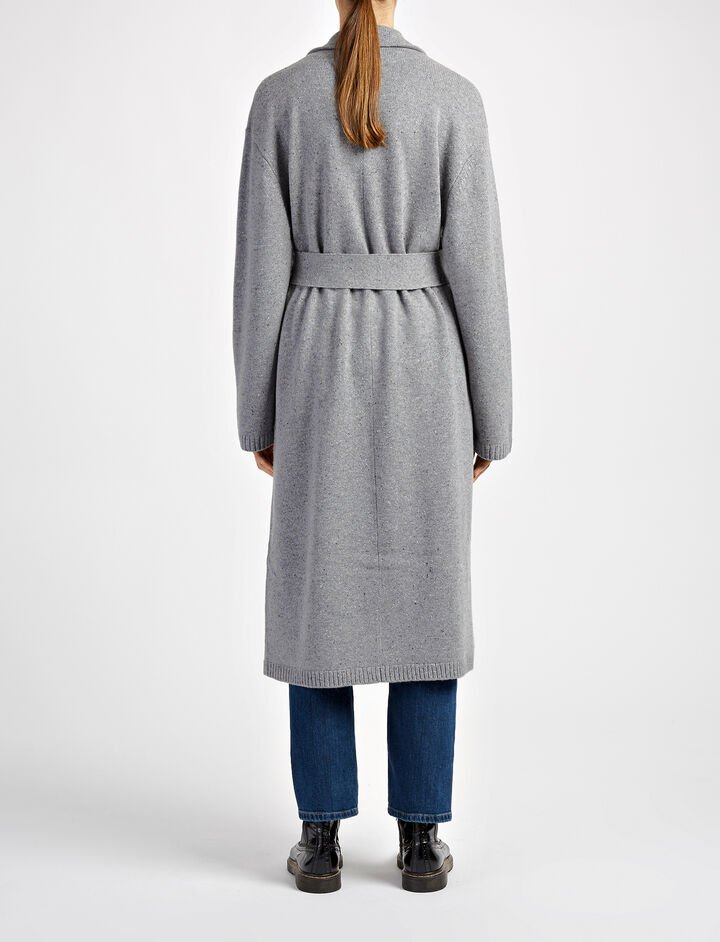 Pure Wool Knit Coat, in GRAPHITE, large | on Joseph