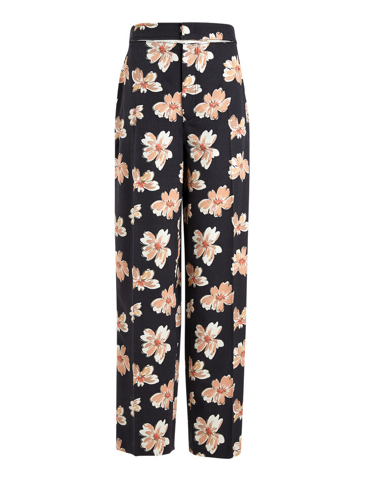 Winter Floral Wool Solar Trousers, in MULTICOLOR, large | on Joseph