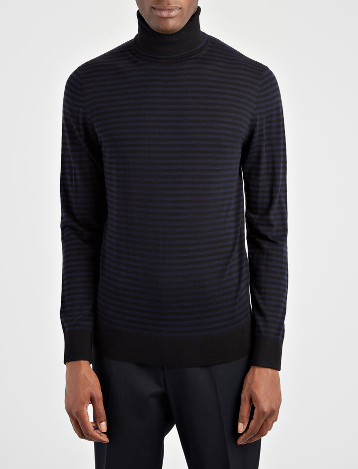 Light Stripe Roll Neck Sweater, in BLACK/Navy, large | on Joseph
