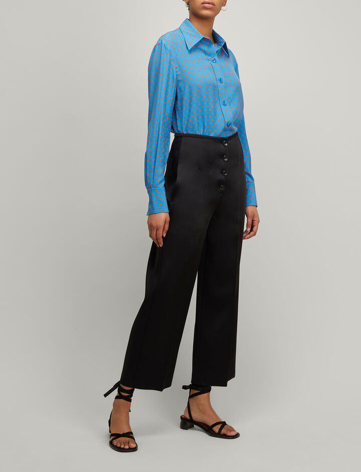 Joseph, Double Satin Brod Trousers, in BLACK