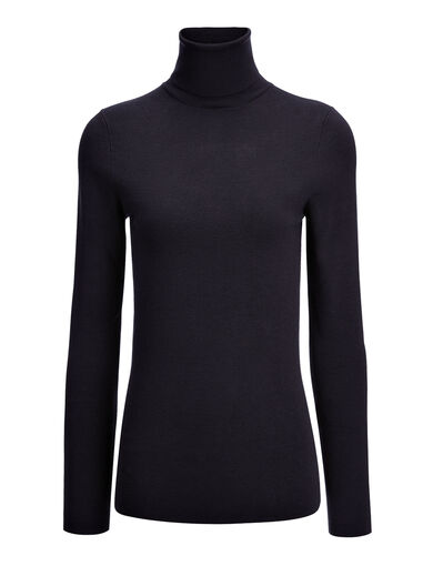 Silk Stretch Roll Neck, in NAVY, large | on Joseph
