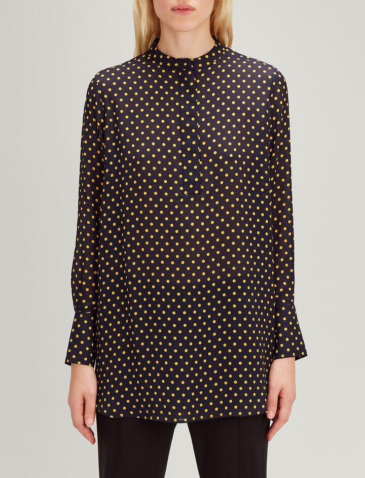 Spot Georgette Marla Blouse, in NAVY, large | on Joseph