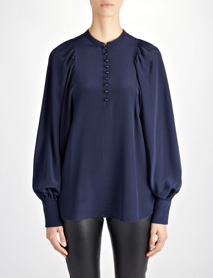 Crepe de Chine Aima Blouse, in MARINE, large | on Joseph