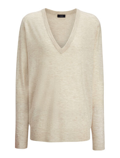 Cashair V Neck Sweater, in HEMP, large | on Joseph