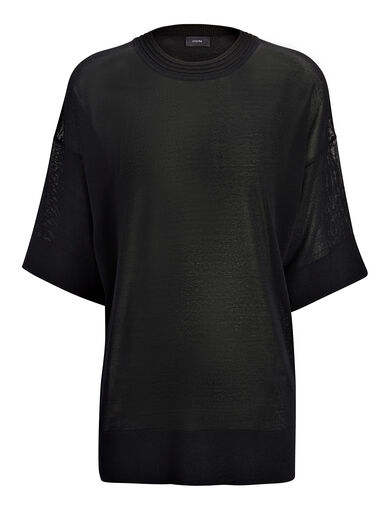 Fine Viscose Stretch Tee, in BLACK, large | on Joseph