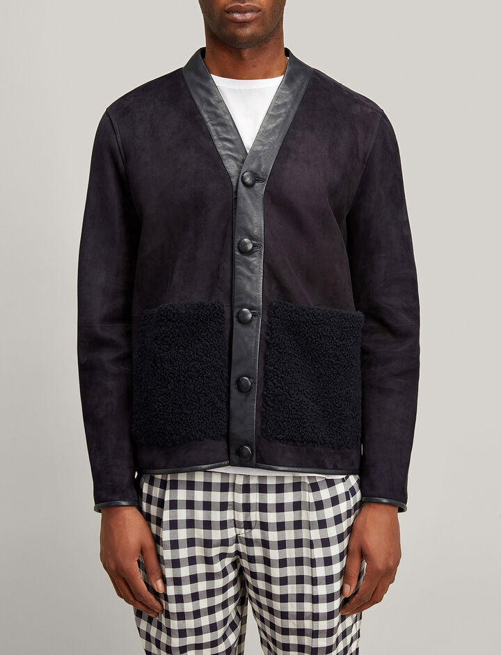 Shearling Highland Jacket, in NAVY, large | on Joseph