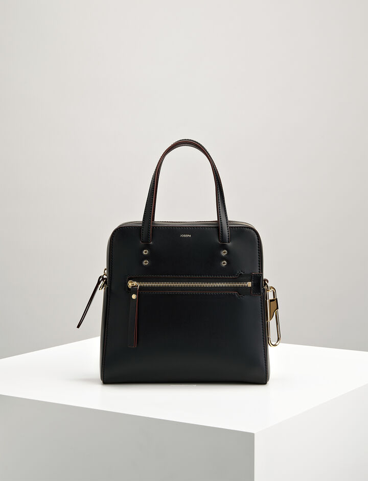 Leather Ryder 25 Bag, in BLACK, large | on Joseph