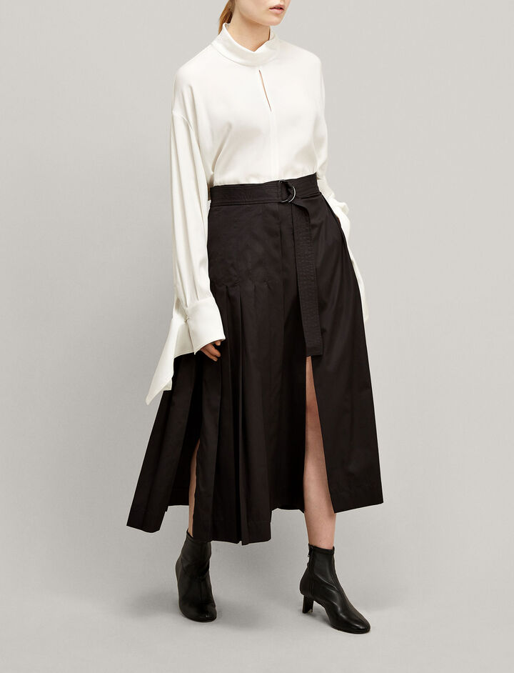 Joseph, Miles High Twist Cotton Skirt, in BLACK